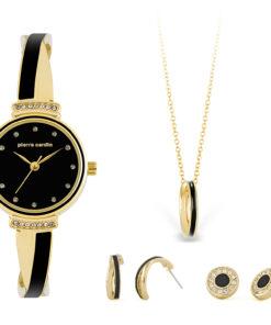 Pierre Cardin Geschenk Set Uhr & Halskette & Ohrringe PCX6855L297